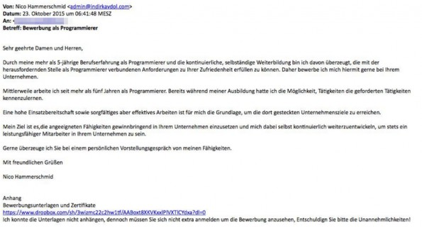 Screenshot von Erpressungs-Mail
